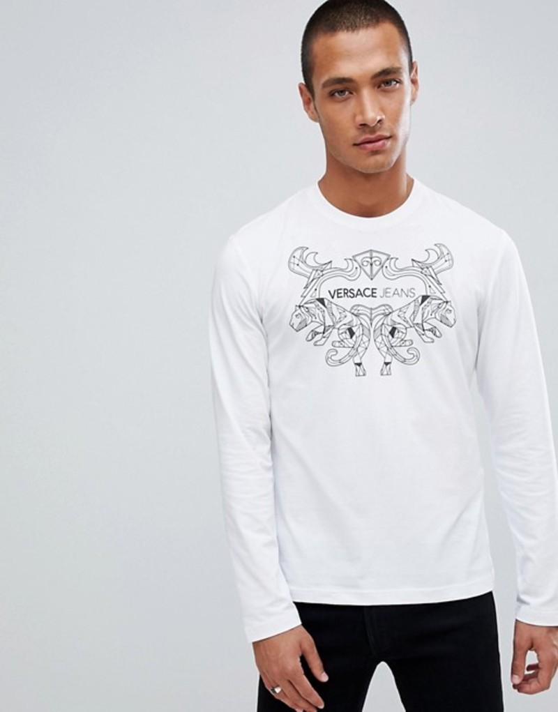 ヴェルサーチ メンズ Tシャツ トップス Versace Jeans long sleeve t-shirt in white with chest print White