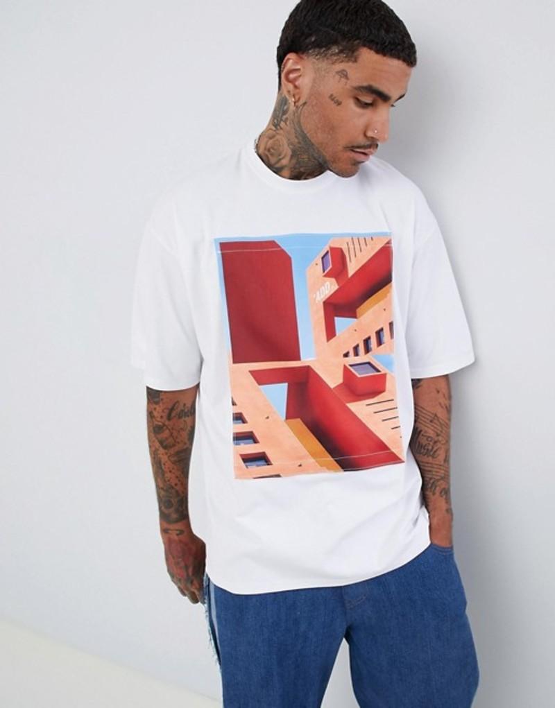 エーディーディーダウン メンズ Tシャツ トップス ADD oversized t-shirt with removeable print patch White