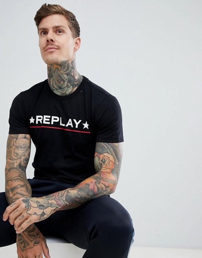 リプレイ メンズ Tシャツ トップス Replay star logo t-shirt in black Black