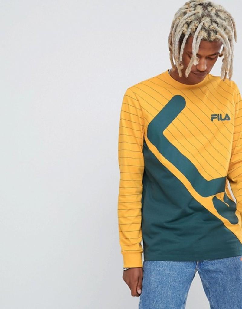 フィラ メンズ Tシャツ トップス Fila Black Line Harrison Striped Panel Long Sleeve T-Shirt In Yellow Yellow