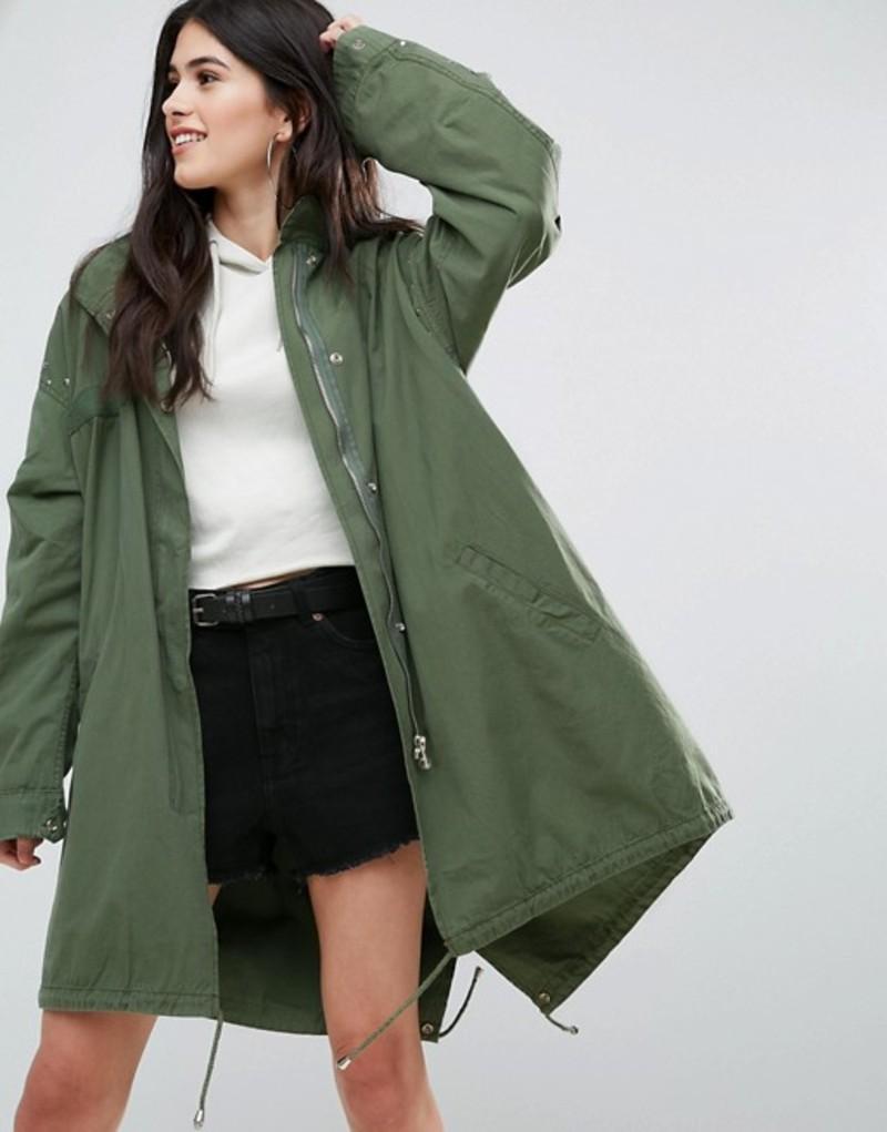 ミスガイデッド レディース ジャケット・ブルゾン アウター Missguided Khaki Sequin Back Oversized Parka Khaki
