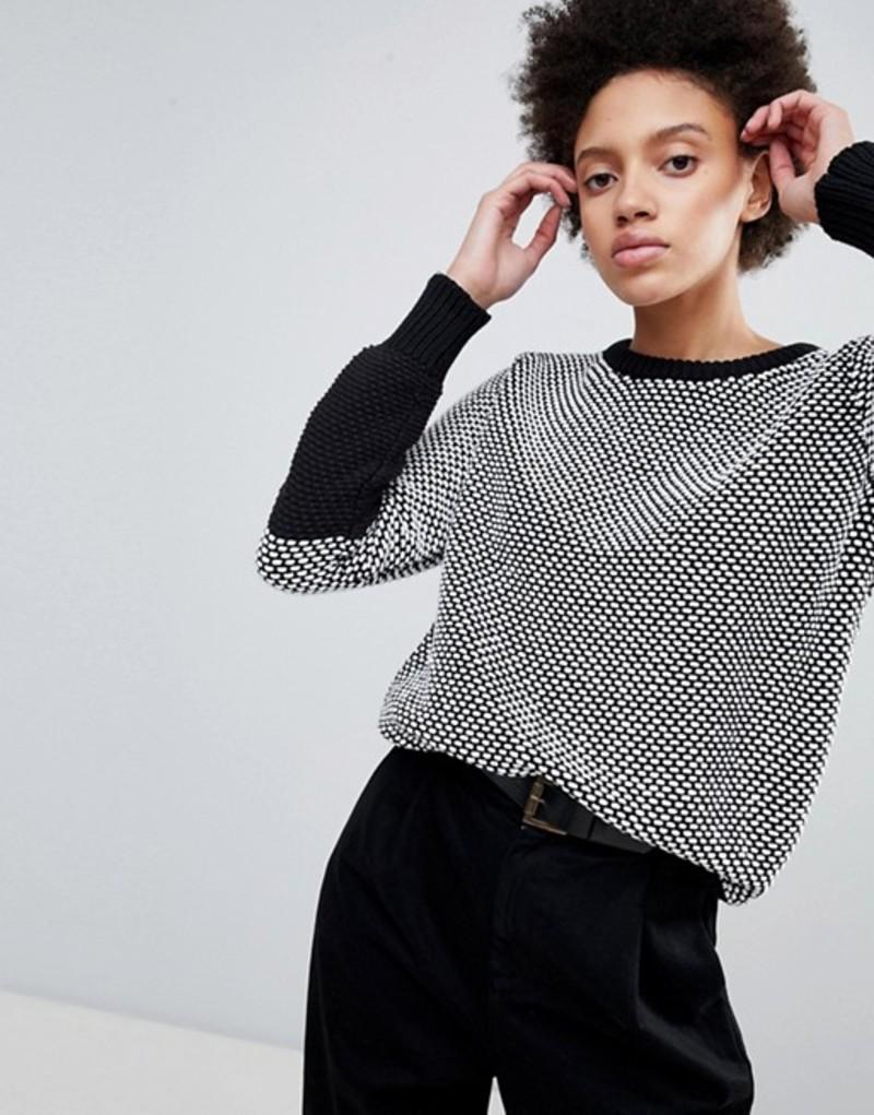 エイチワン レディース ニット・セーター アウター H.One Textured Contrast Knit Sweater Black combo