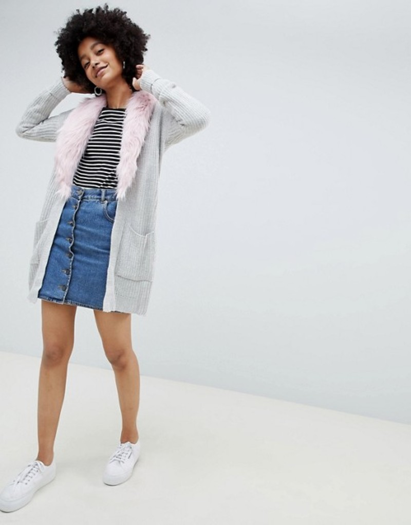 ブレーブソウル レディース カーディガン アウター Brave Soul Hawk Cardigan with Detachable Faux Fur Collar Light grey / pink