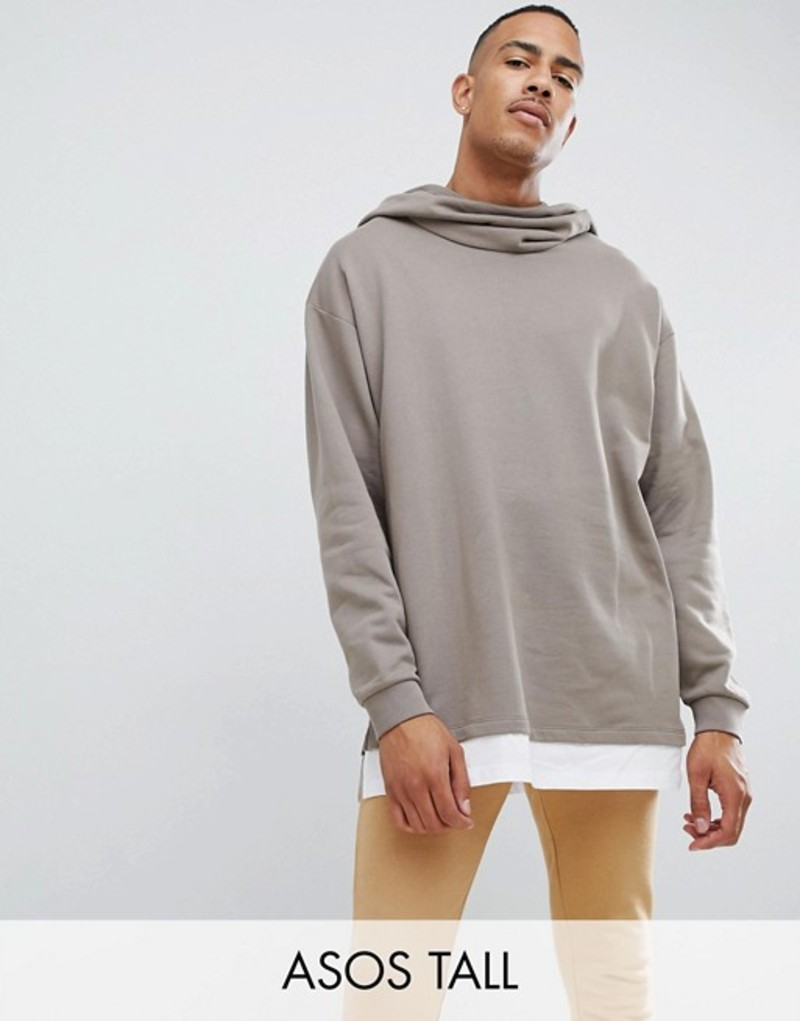 人気が高い エイソス ASOS hoodie メンズ パーカー・スウェット アウター ASOS and DESIGN tall oversized hoodie in beige with slouch neck and hem extender Clam/white, 水着 ラッシュガードのCDMストア:083cb772 --- portalitab2.dominiotemporario.com