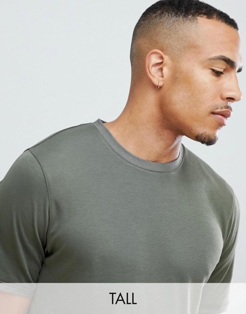 テッドベーカー メンズ Tシャツ トップス Ted Baker Tall premium t-shirt with collar detail in khaki Khaki