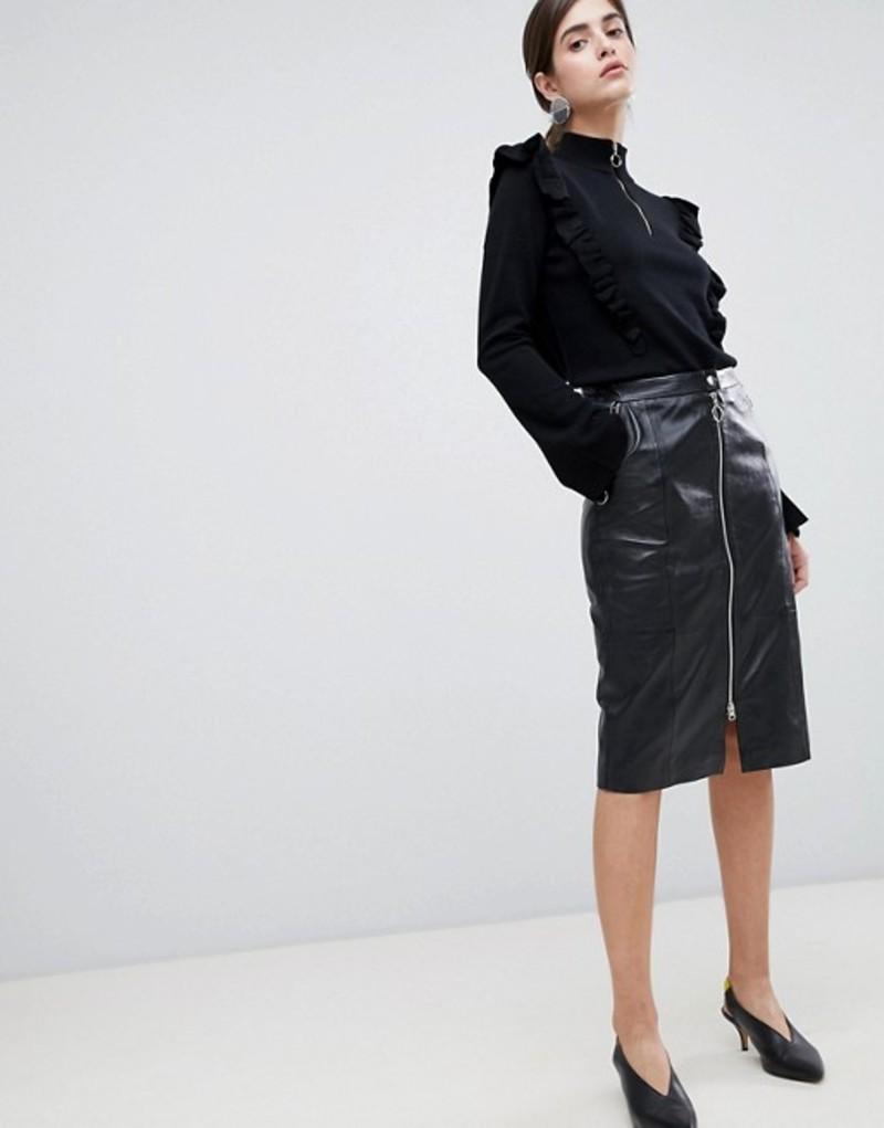 ゲタス レディース スカート ボトムス Gestuz Nadine Leather Pencil Midi Skirt with Zip Front Black