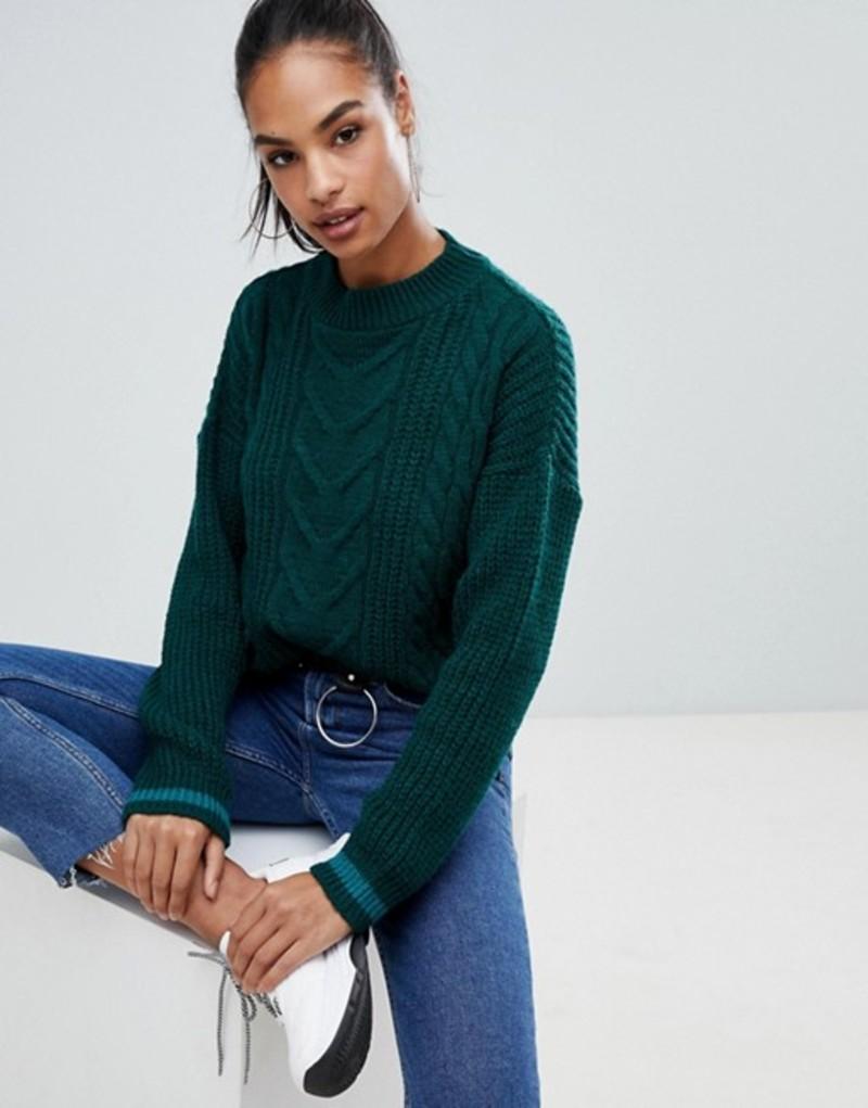 ブーフー レディース ニット・セーター アウター Boohoo cable knit sweater in green Green