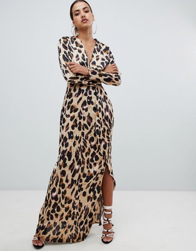 ミスガイデッド レディース ワンピース トップス Missguided twist wrap maxi dress in leopard Leopard