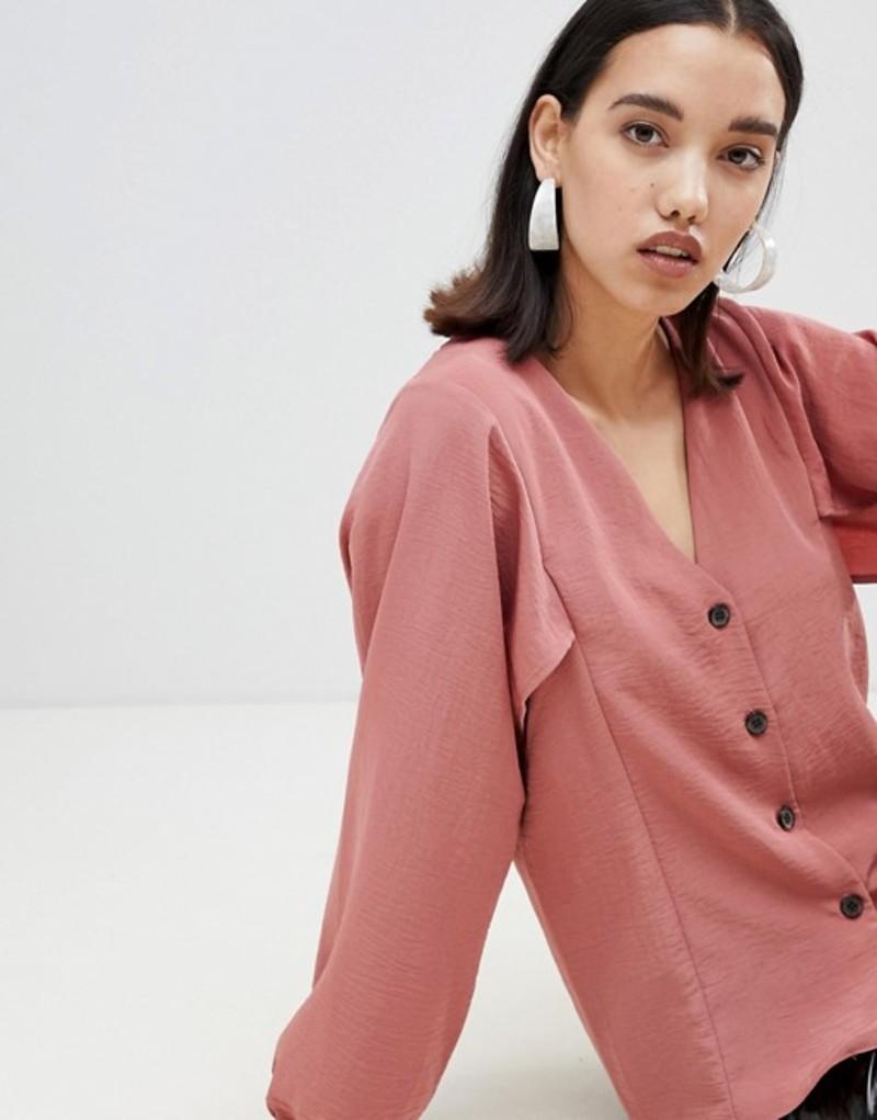 レディース トップス シャツ リバーアイランド River Island batwing sleeve blouse with button front in pink Pink