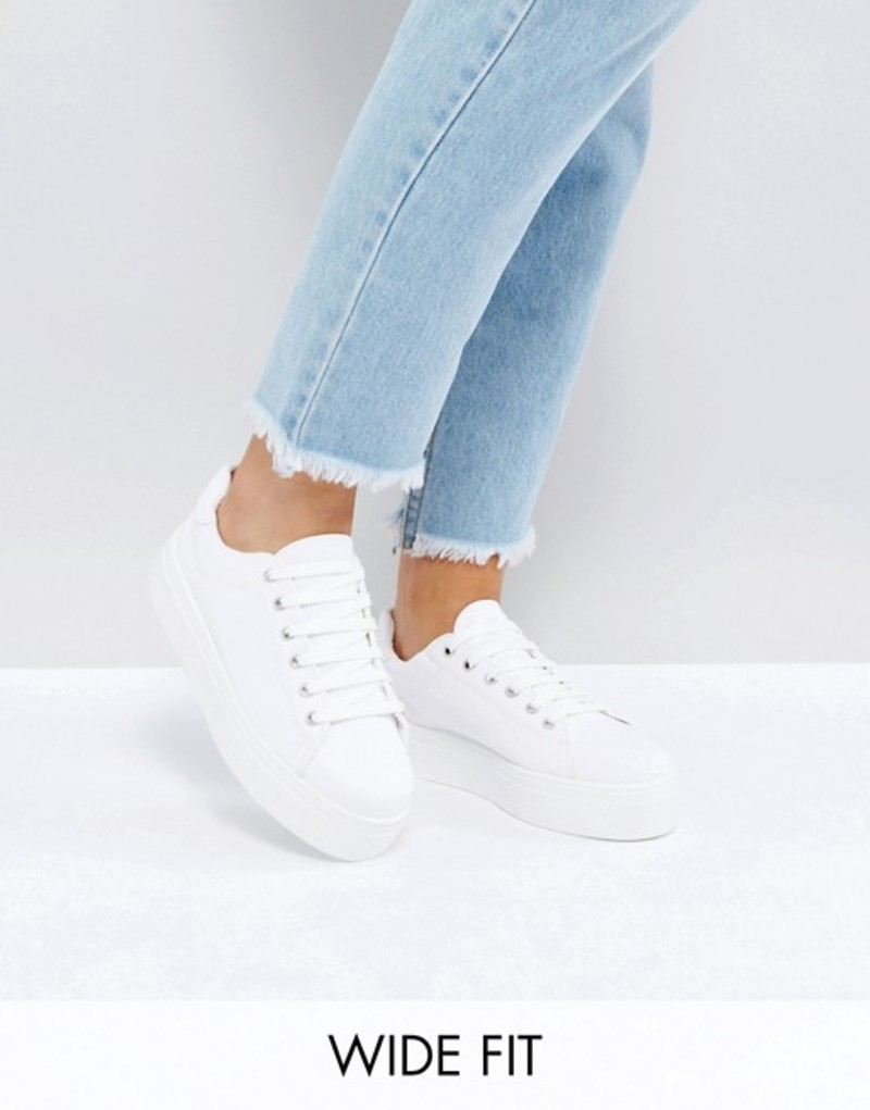 エイソス レディース スニーカー シューズ ASOS DAY LIGHT Wide Fit Lace Up Sneakers White