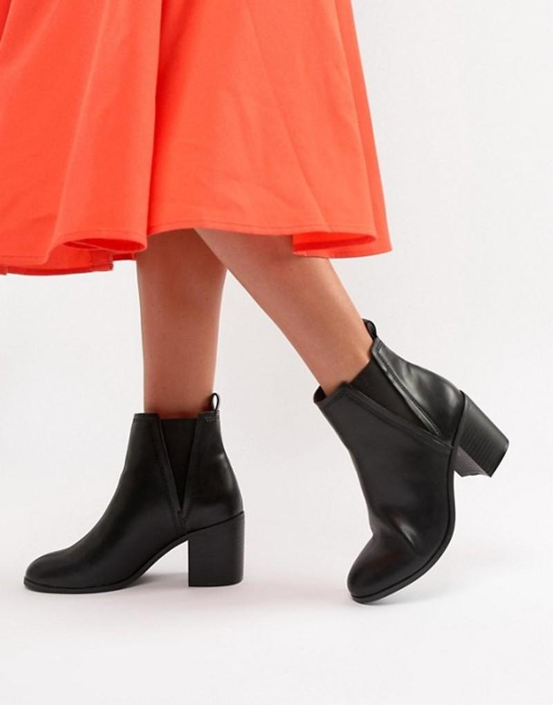 エイソス レディース ブーツ・レインブーツ シューズ ASOS DESIGN Reside heeled ankle chelsea boots Black