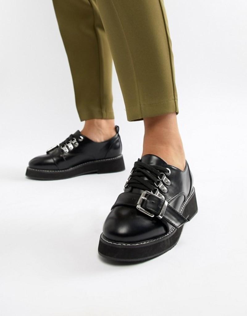 エイソス レディース パンプス シューズ ASOS DESIGN Mortice chunky hiker flat shoes Black