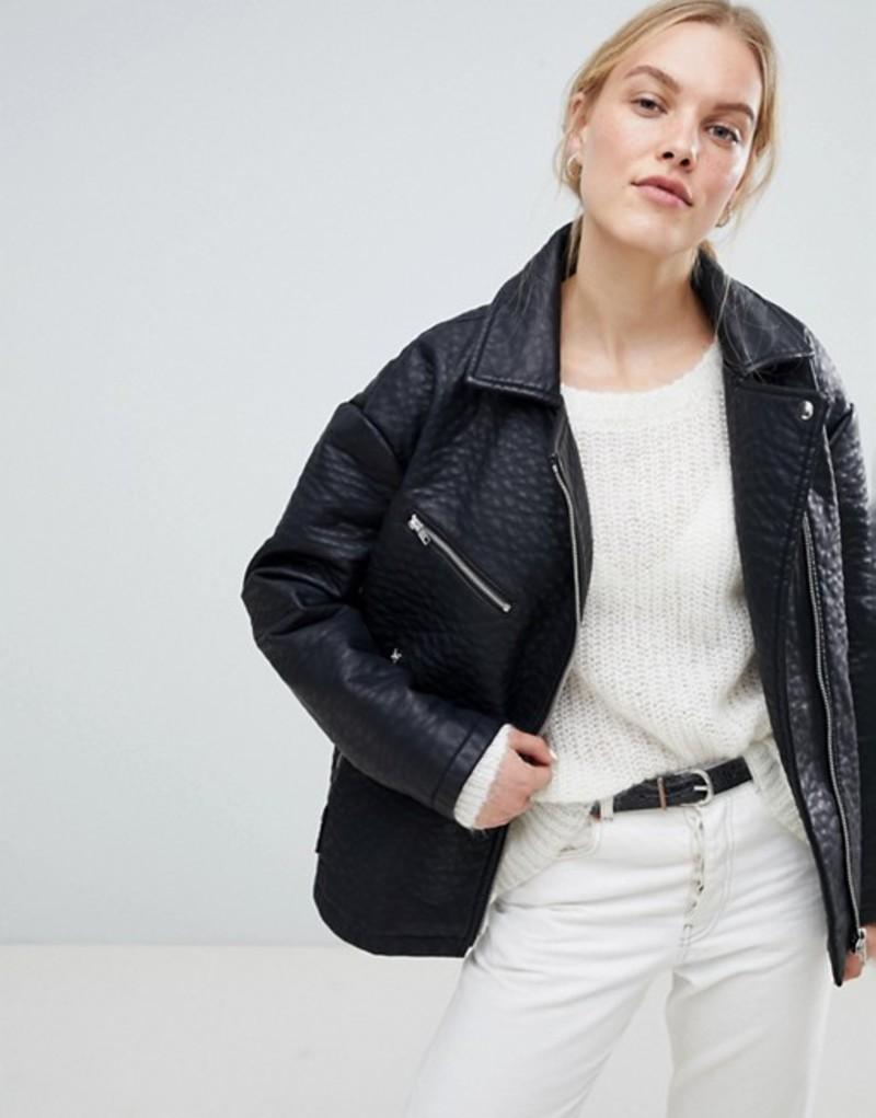エイソス レディース ジャケット・ブルゾン アウター ASOS DESIGN Oversized Faux Leather Jacket Black