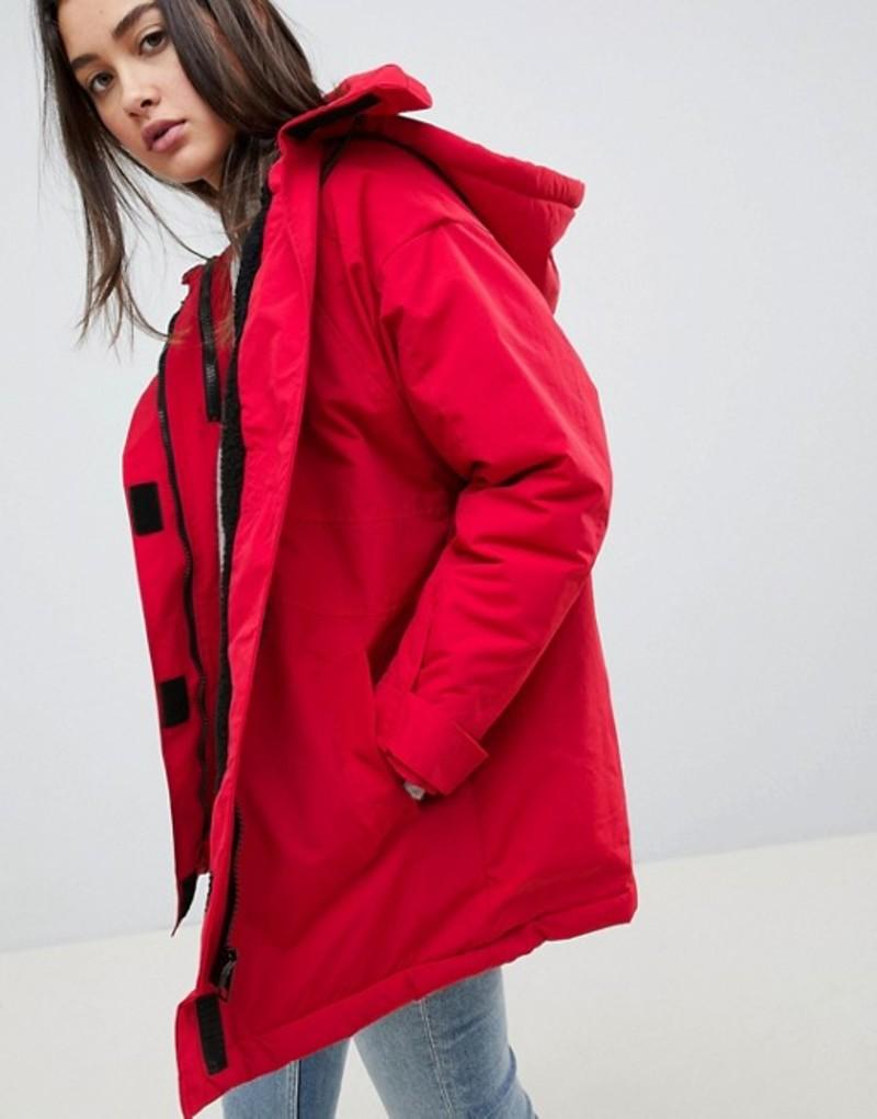 エイソス レディース コート アウター ASOS DESIGN fleece lined anorak Red