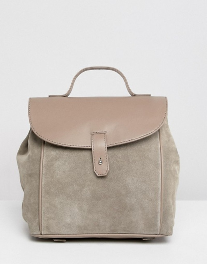 エイソス レディース バックパック・リュックサック バッグ ASOS DESIGN suede leather mix backpack Grey
