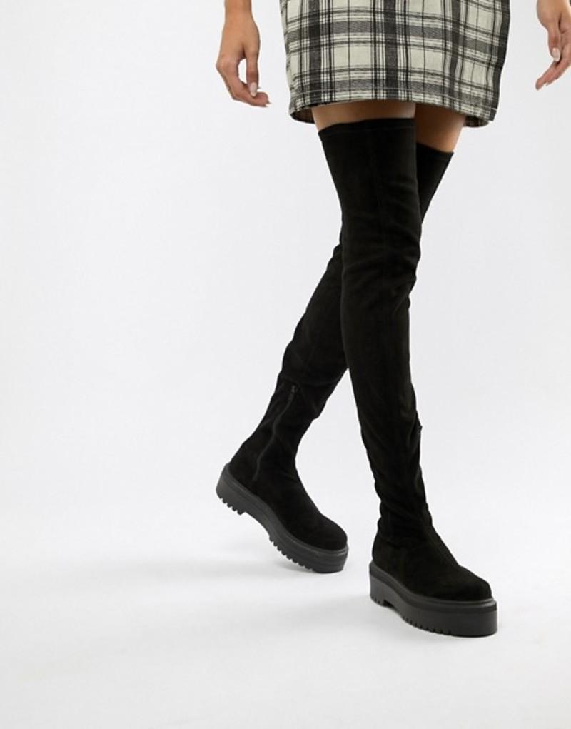 エイソス レディース ブーツ・レインブーツ シューズ ASOS DESIGN Kami flat chunky over the knee boots Black