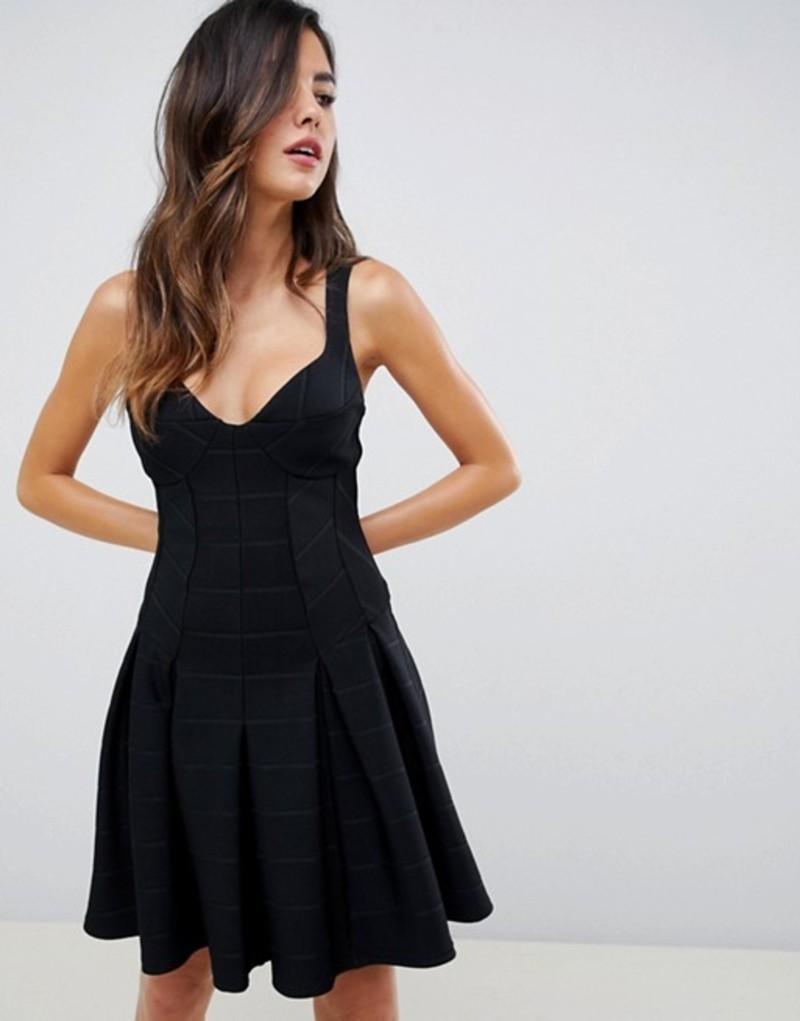 エイソス レディース ワンピース トップス ASOS DESIGN mini bandage skater dress Black