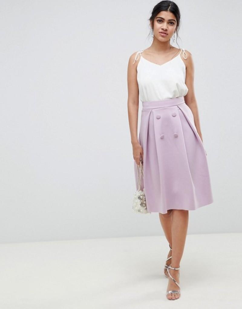 エイソス レディース スカート ボトムス ASOS DESIGN double breasted midi prom skirt Mauve