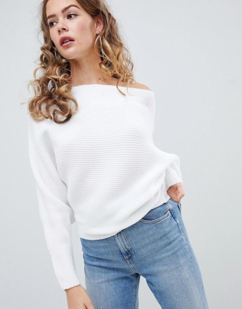 エイソス レディース ニット・セーター アウター ASOS DESIGN off shoulder sweater in ripple stitch White