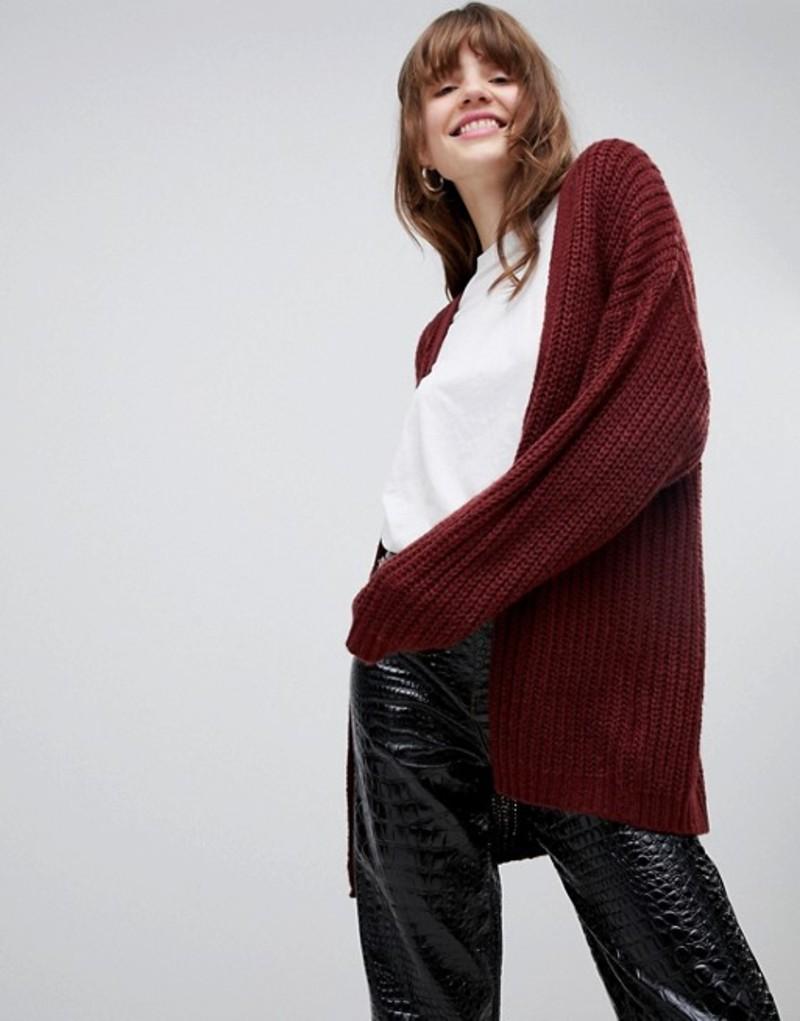 エイソス レディース カーディガン アウター ASOS DESIGN oversize cardigan in chunky rib with buttons Dark red
