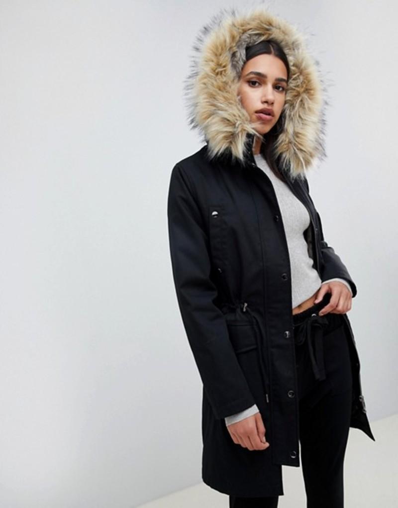 エイソス レディース ジャケット・ブルゾン アウター ASOS DESIGN parka with detachable faux fur liner Black