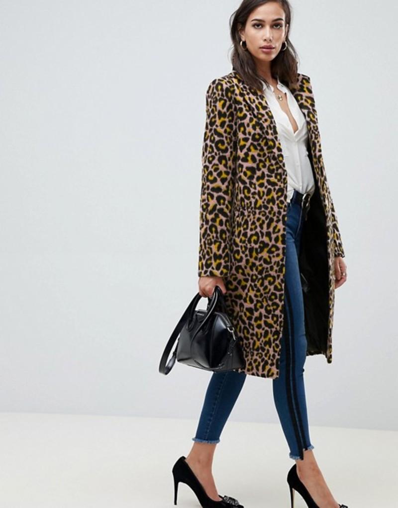 エイソス レディース コート アウター ASOS DESIGN leopard coat Multi
