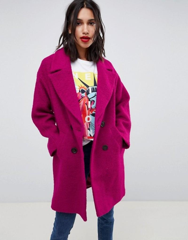 エイソス レディース コート アウター ASOS DESIGN double breasted coat in texture Pink