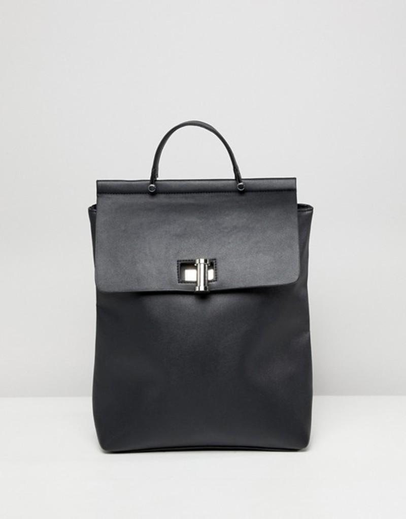 エイソス レディース バックパック・リュックサック バッグ ASOS top DESIGN backpack oversize twistlock エイソス pinch top backpack Black, カフス専門店-16th Street:7e0d8822 --- mail.lagunaspadxb.com