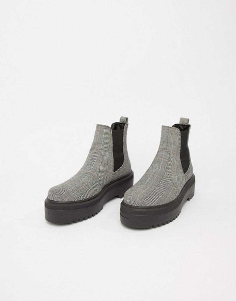 エイソス レディース ブーツ・レインブーツ シューズ ASOS DESIGN Agnes chunky chelsea boots Grey check