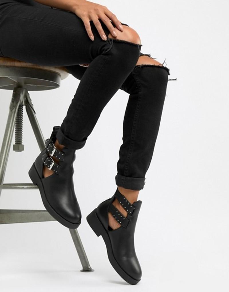 エイソス レディース ブーツ・レインブーツ シューズ ASOS DESIGN Ark chunky cut out boots Black