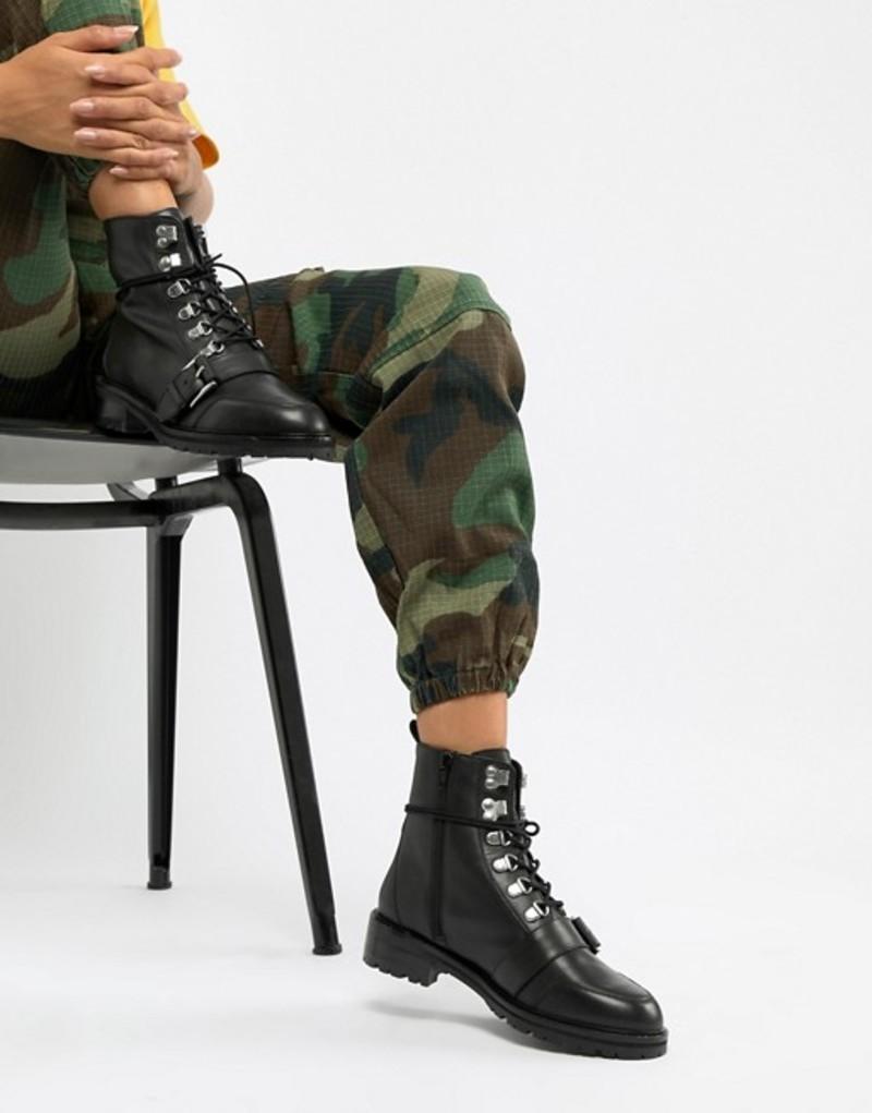 エイソス レディース ブーツ・レインブーツ シューズ ASOS DESIGN Arya leather hiker ankle boots Black leather