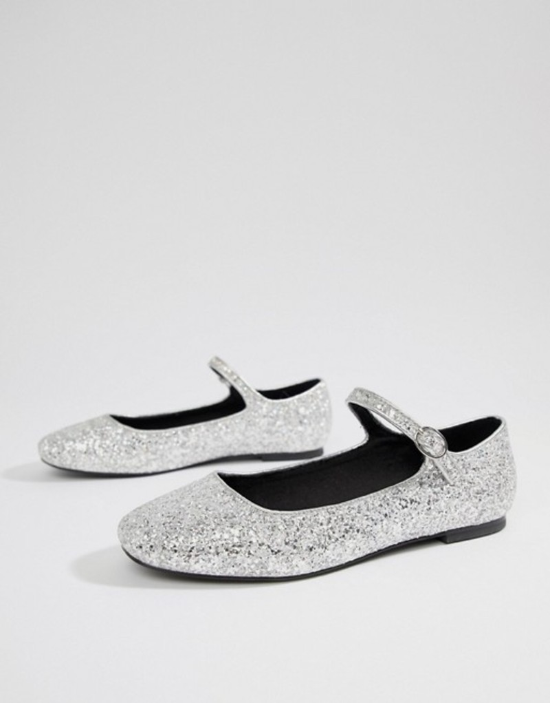 エイソス レディース パンプス シューズ ASOS DESIGN Ledger mary jane ballet flats Silver glitter