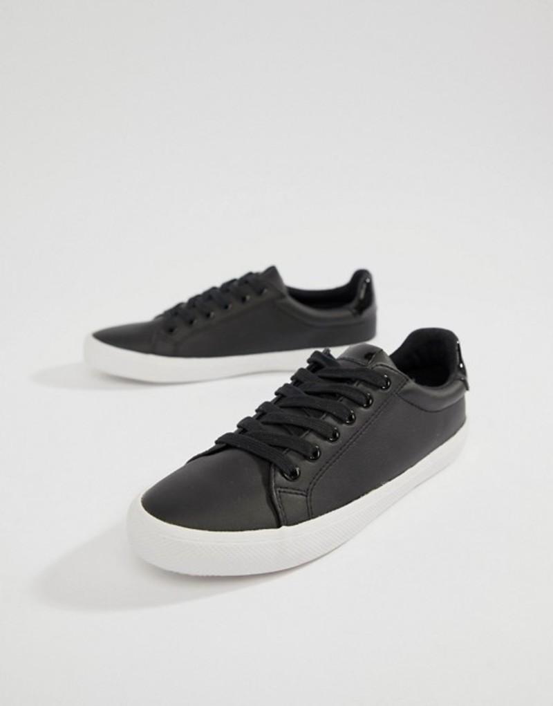 エイソス レディース スニーカー シューズ ASOS DESIGN Dustin lace up sneakers Black pu