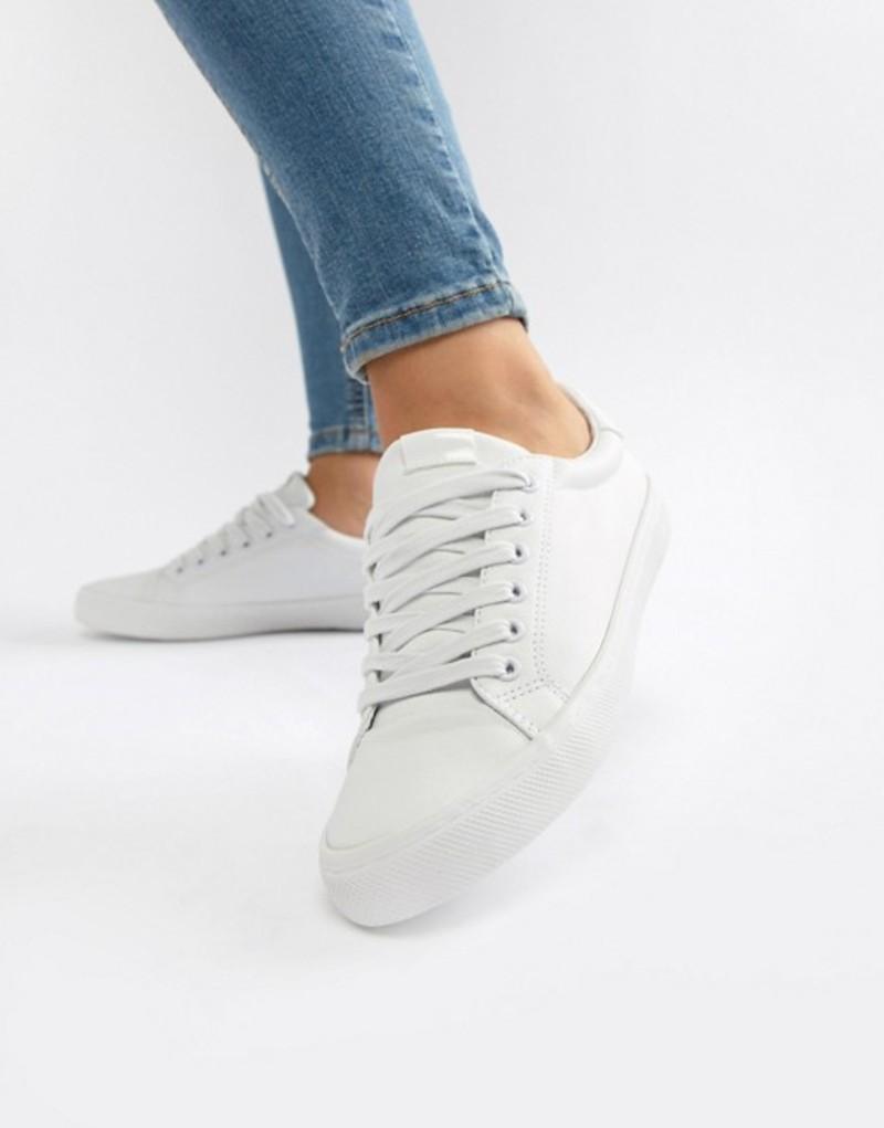 エイソス レディース スニーカー シューズ ASOS DESIGN Dustin lace up sneakers White pu