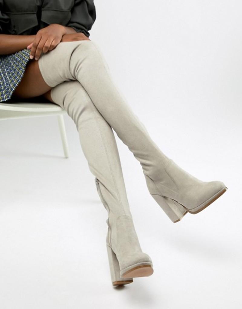エイソス レディース ブーツ・レインブーツ シューズ ASOS DESIGN Kassidy heeled over the knee boots Grey