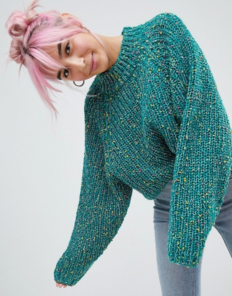 エイソス レディース ニット・セーター アウター ASOS DESIGN Sweater In Crop With Wide Sleeve Pom Pom Yarn Green