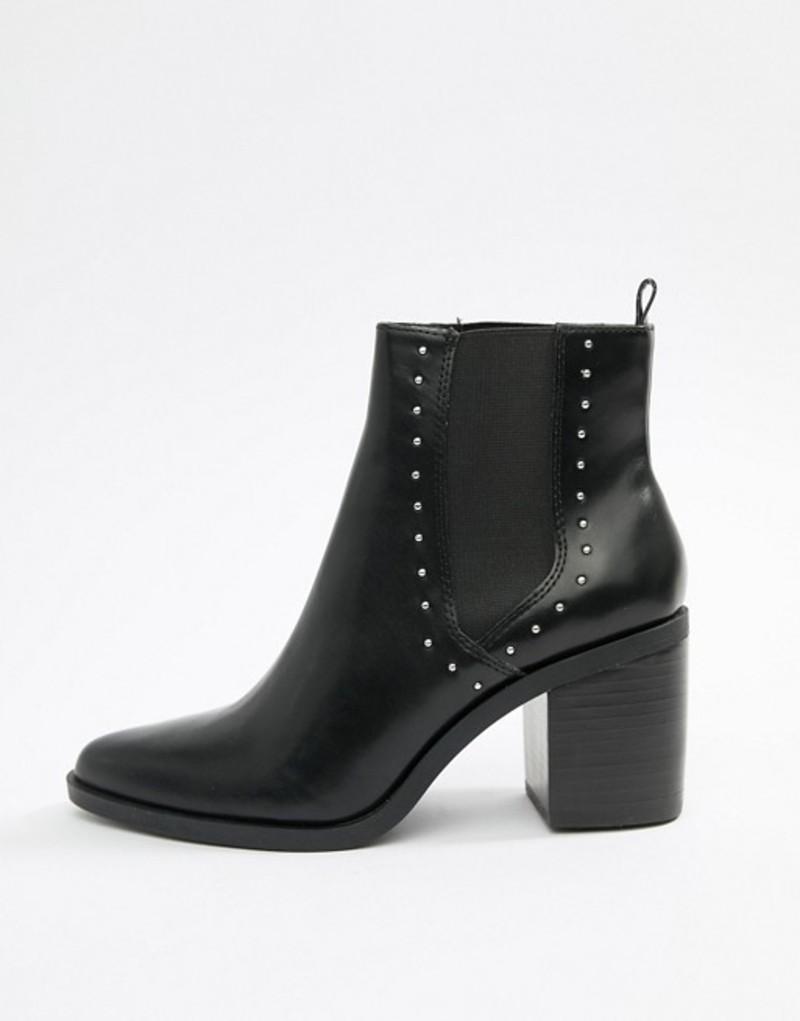 ストラディバリウス レディース ブーツ・レインブーツ シューズ Stradivarius studded heeled boot Black