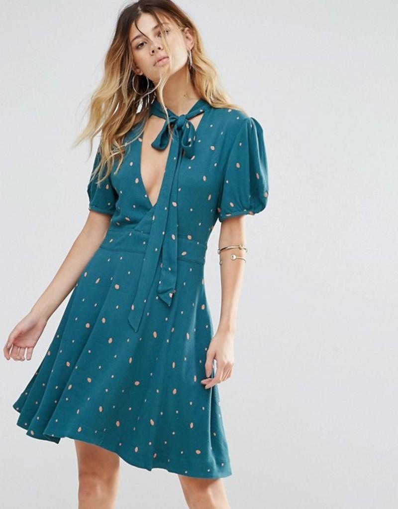 フリーピープル レディース ワンピース トップス Free People Abbie Printed Puff Sleeve Dress Green combo