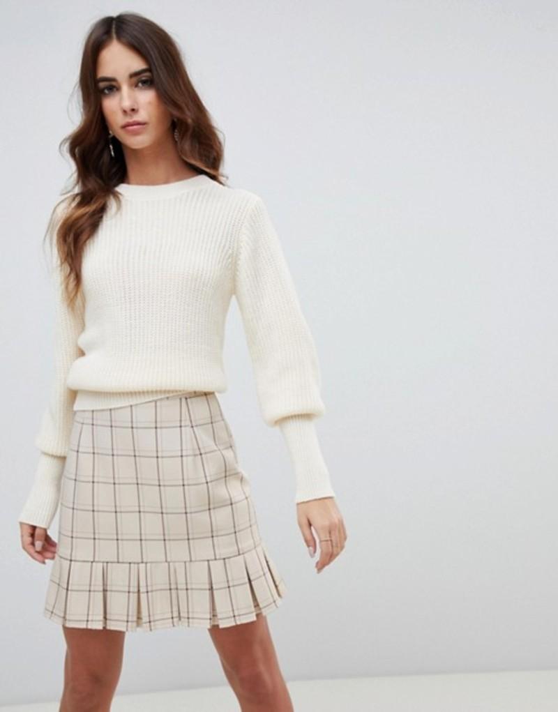 ファッションモンキー レディース ニット・セーター アウター Fashion Union Sweater With Fitted Rib Cream