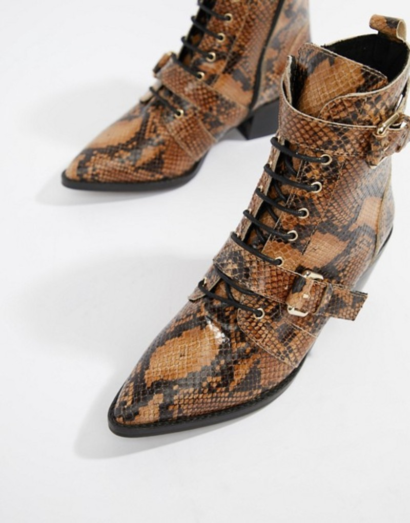 オフィス レディース ブーツ・レインブーツ シューズ Office Ambassador leather snake lace up two buckle ankle boots Snake leather
