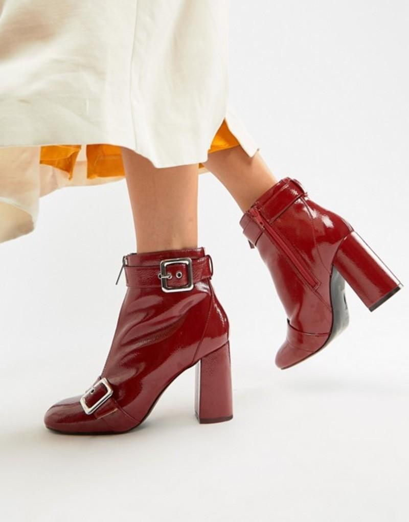 ミスセルフフリッジ レディース ブーツ・レインブーツ シューズ Miss Selfridge buckle detail heeled ankle boot Red