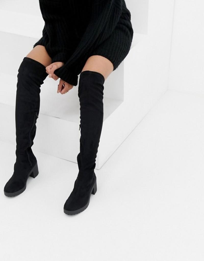 ミスセルフフリッジ レディース ブーツ・レインブーツ シューズ Miss Selfridge over the knee chunky heel boots in black Black