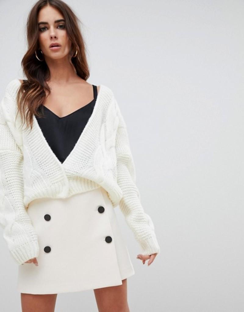 ファッションモンキー レディース カーディガン アウター Fashion Union Relaxed Cardigan In Cable Knit Cream