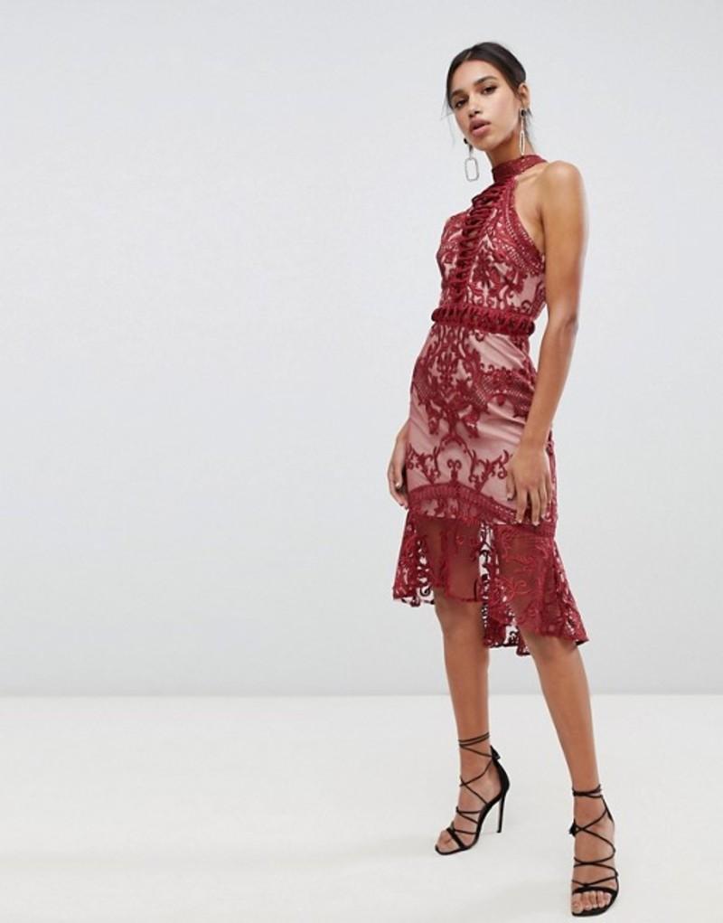 トゥルーデカデンス レディース ワンピース トップス True Decadence high neck peplum hem lace pencil dress in berry Berry