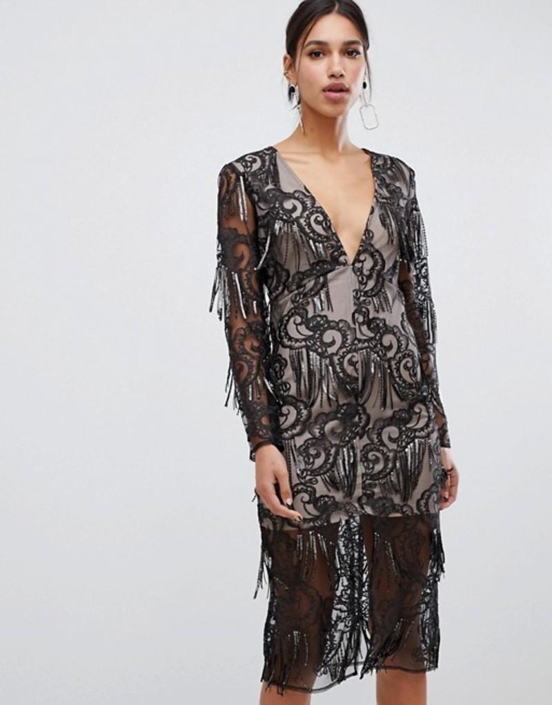 トゥルーデカデンス レディース ワンピース トップス True Decadence premium sequin tassel pencil dress in black Black