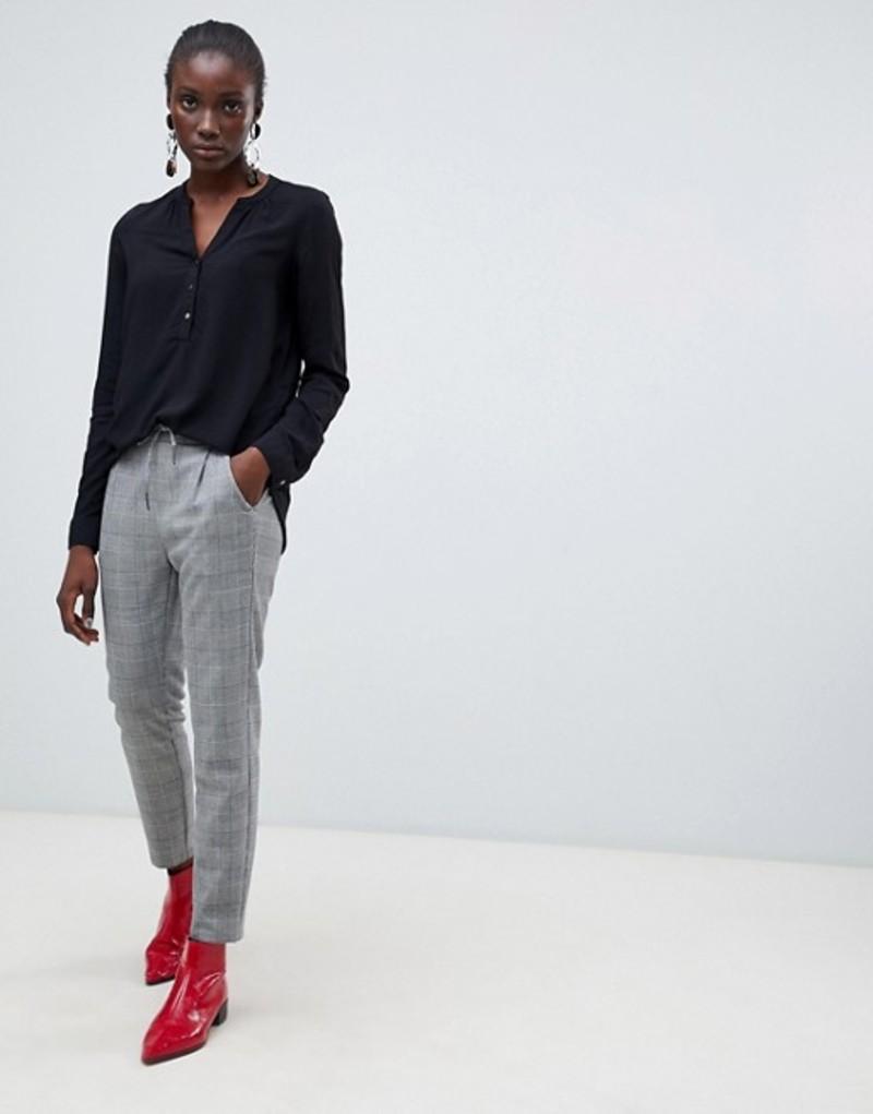 ヴェロモーダ レディース カジュアルパンツ ボトムス Vero Moda check tie waist pants Light grey check