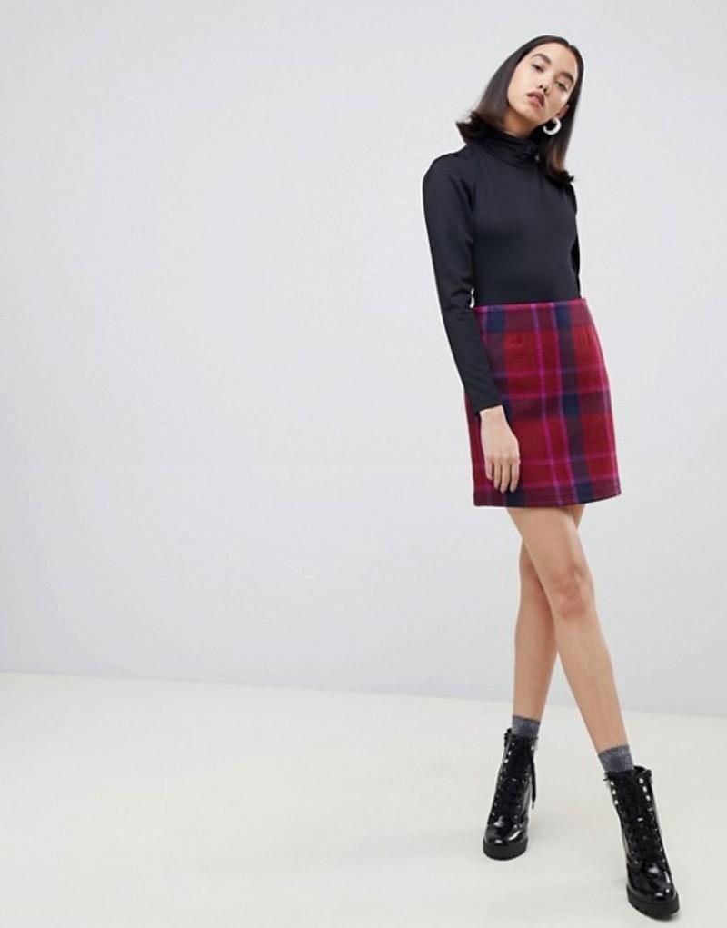 ロストインク レディース スカート ボトムス Lost Ink mini skirt in check Multi