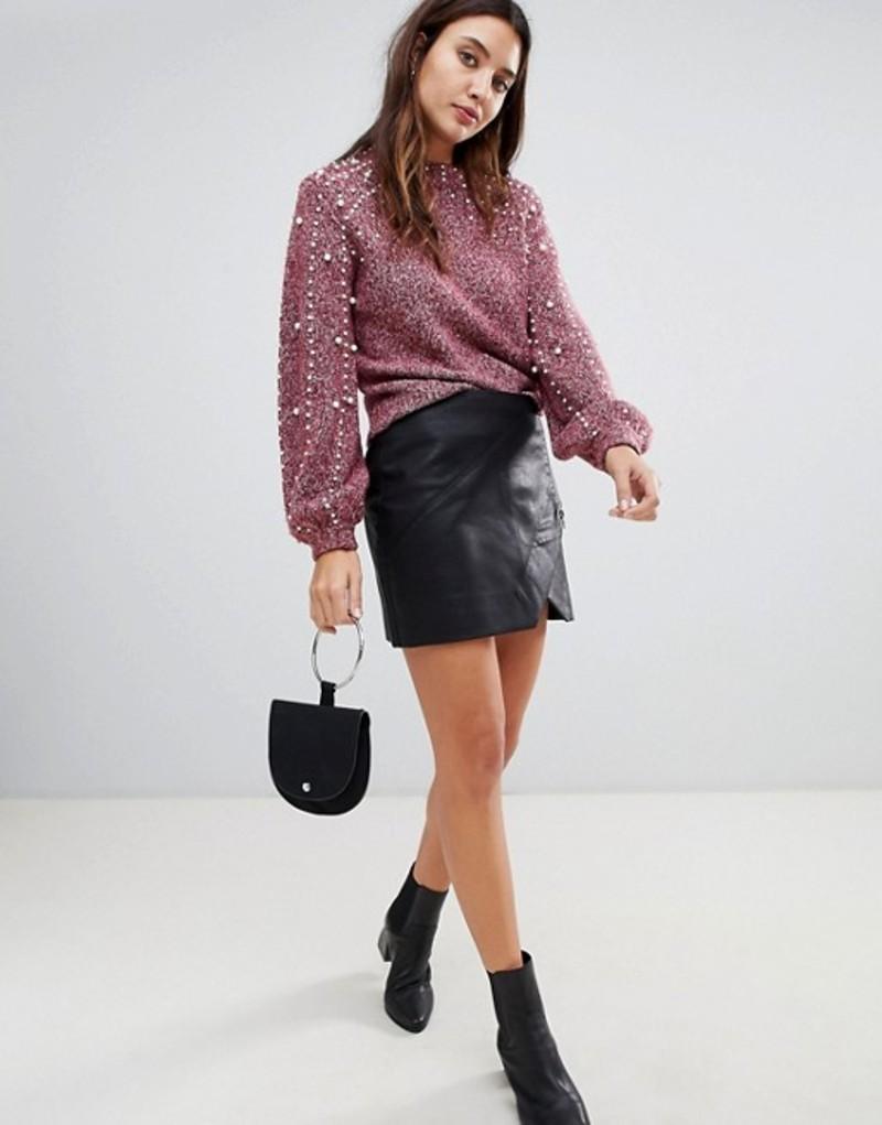ブランクニューヨーク レディース スカート ボトムス Blank NYC leather effect mini skirt Black