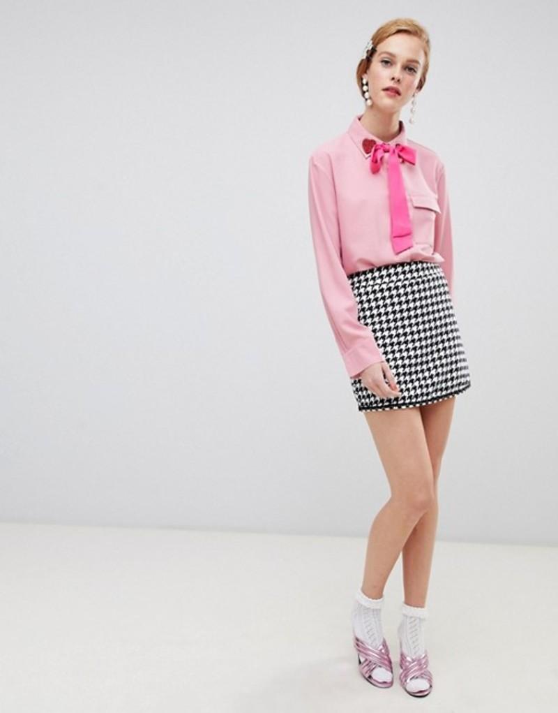 シスタージュン レディース スカート ボトムス Sister Jane mini skirt in houndstooth two-piece Black and white