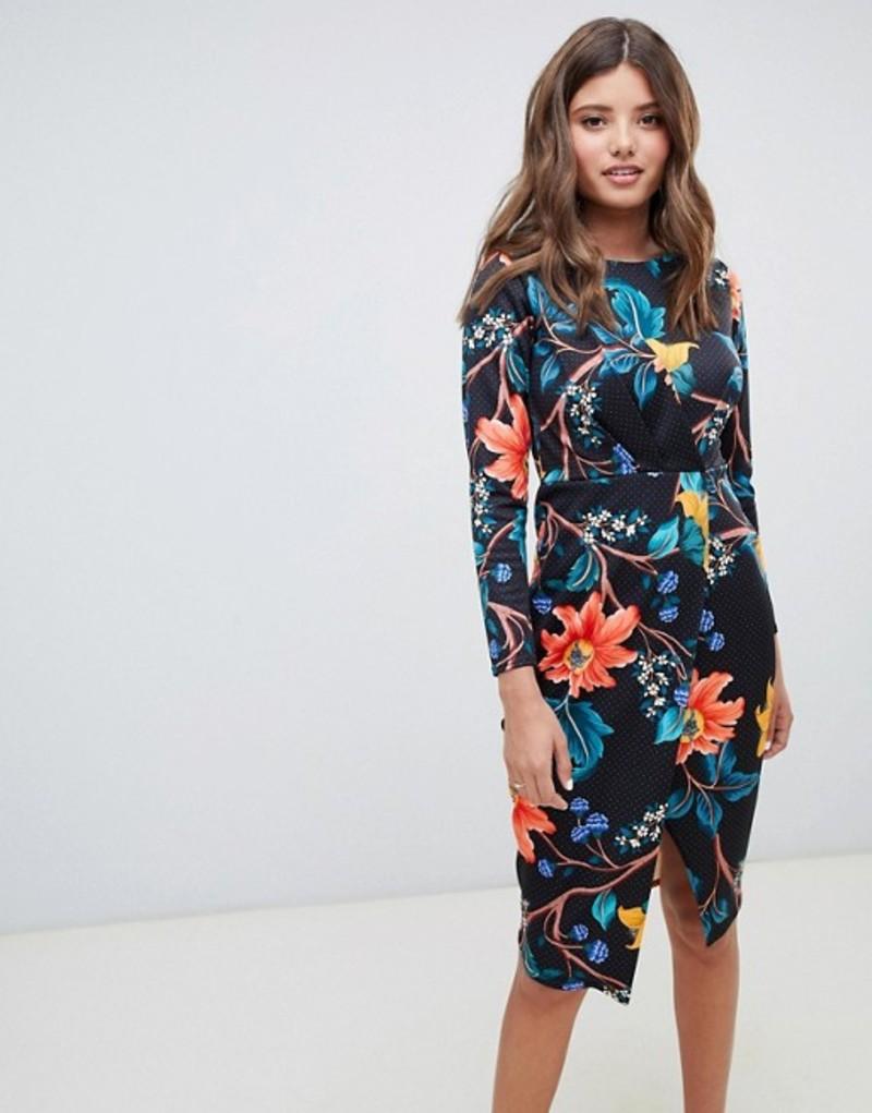 クローゼットロンドン レディース ワンピース トップス Closet London draped wrap front dress in polka floral print Multi